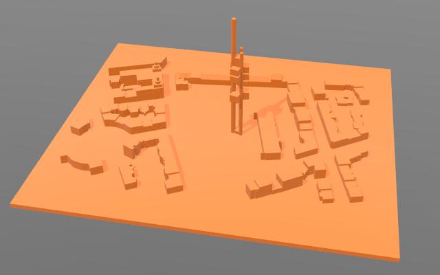 Obrázek modelu Žižkovského vysílače, který byl vyhotovený na základě dat získaných z OpenStreetMap
