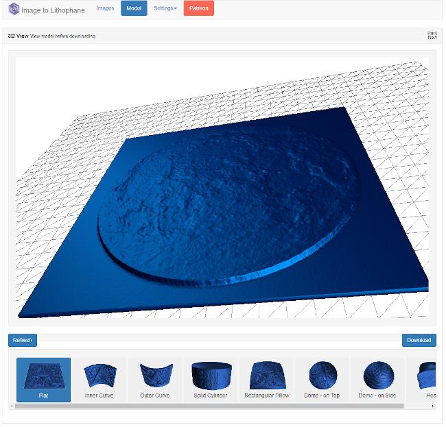 V Image Litophane mohu provést různá nastavení reliéfu. Nakonec si stáhnu soubor ve formátu STL, který sice mohu poslat do 3D tiskárny, ale já tento soubor raději ještě zkontroluji v programu 3D Builder.