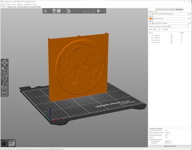 Opravený STL soubor mohu poslat do 3D tiskárny – před tím v programu PrusaSlicer nastavím parametry pro 3D tiskárnu (například jak jemný má být 3D tisk, jakým materiálem má být tištěno).