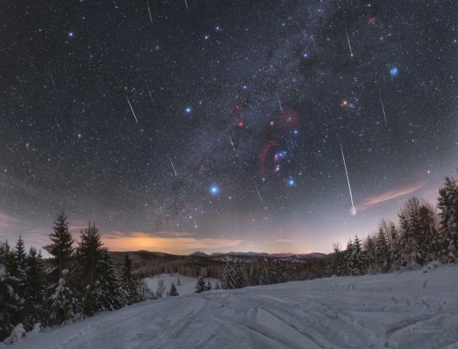 Kvadrantidy přes Orion - bližší popis hned za touto fotografií
